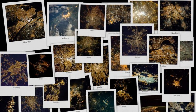 Cities at night collage