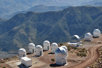 Cluster of small telescope domes