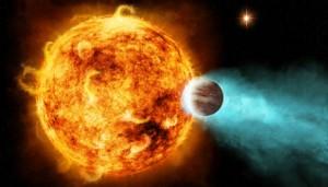 An artist's conception of a hot Jupiter circling an active star. NASA/CXC/M.Weiss