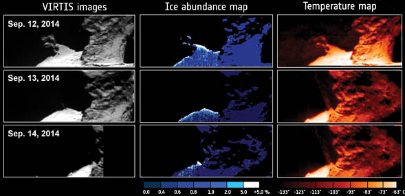 Comet 67P water-ice maps