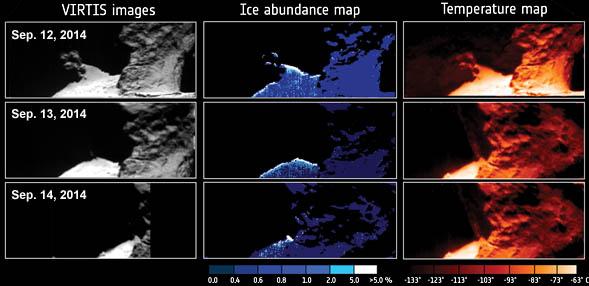 Comet 67P water-ice maps