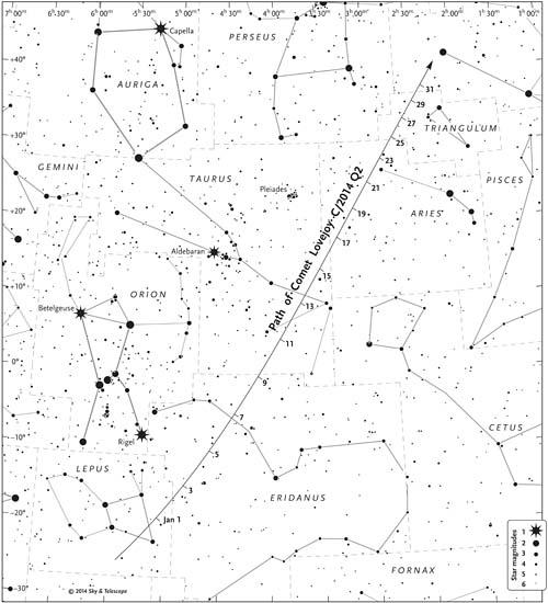 Comet Lovejoy finder chart