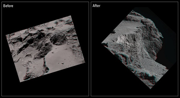 3D comet cliff collapse
