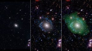 In optical light (left), UGC 1382 appears to be a simple elliptical galaxy. But when astronomers used ultraviolet and deep optical data (middle), spiral arms emerged. When it was combined with a view of low-density hydrogen gas (seen in green at right), scientists discovered UGC 1382 is bigger than expected. NASA / JPL / Caltech / SDSS / NRAO / L. Hagen and M. Seibert