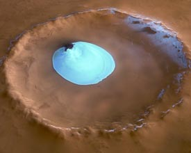 Mars crater with ice patch