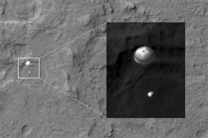 Curiosity and its parachute
