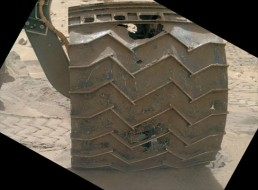 Punctures in Curiosity's left-front wheel