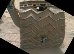 Punctures in Curiosity's left-front wheel