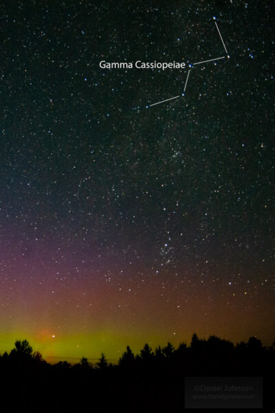 Northern Lights over a forest, with Cassiopeia constellation