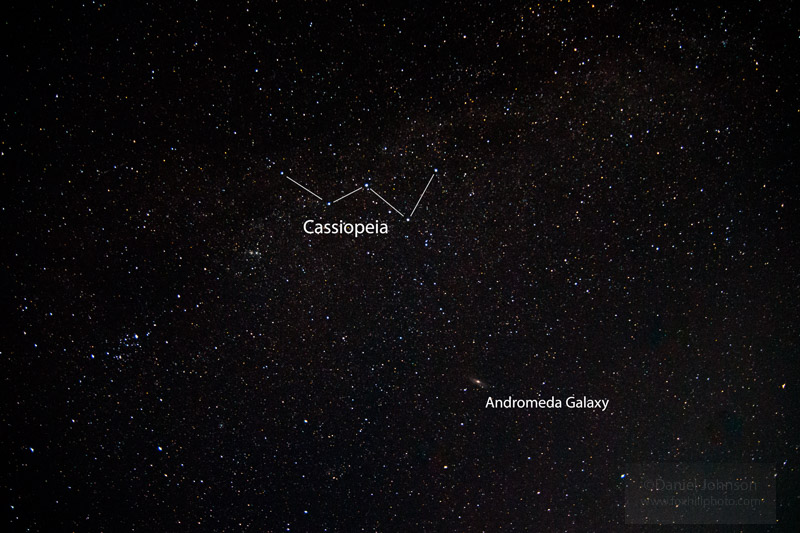 Stars; Cassiopeia constellation with the Andromeda Galaxy