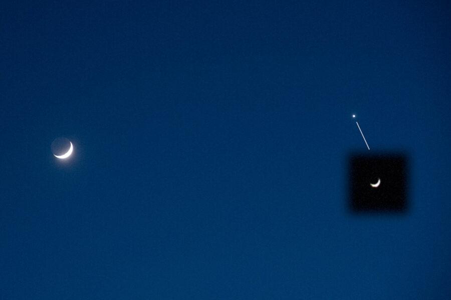 Crescent Moon and crescent Venus