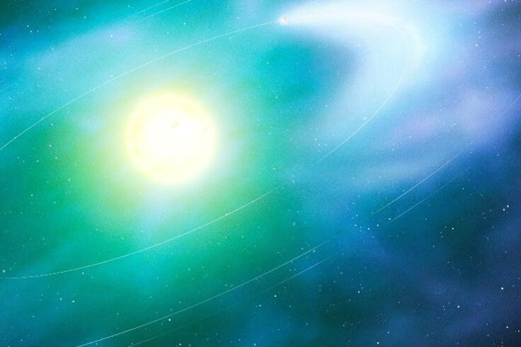 Artist's illustration of a possibly disintegrating planet