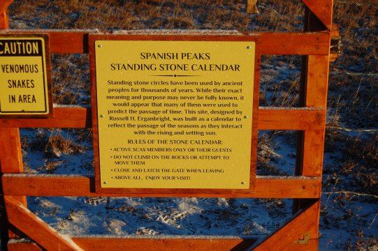 Entrance to Spanish Peaks Standing Stone Calendar