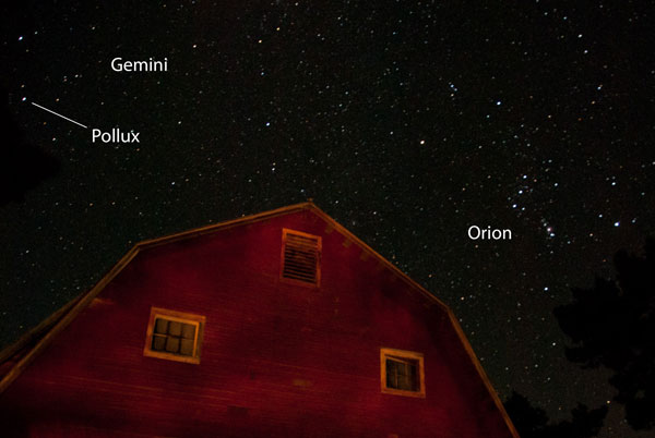 Pollux in Gemini, near Orion