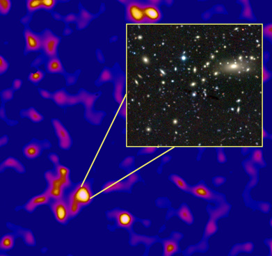 Dark matter map with galaxy cluster