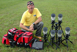 Six portable occultation telescopes