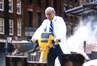 Doctor operating a jackhammer?