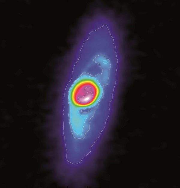 Star formation in action: Dusty disk around BHB07-11