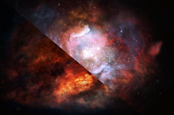Dusty starburst galaxy (art)