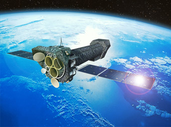 Artist's impression of XMM-Newton spacecraft in orbit around the Earth.