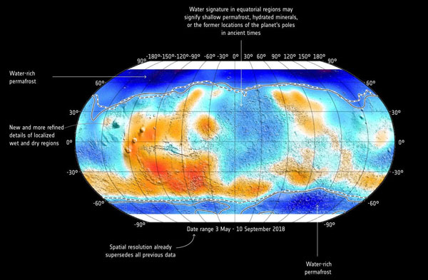 Mars shallow subsurface water map