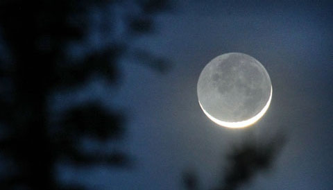 "Crescent cradles the ""old moon"""