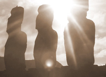 Easter Island statues in sunlight