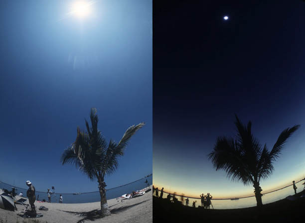 Before and during an eclipse