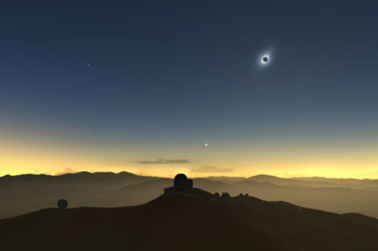 Artist's impression of 2019 totality over Chile