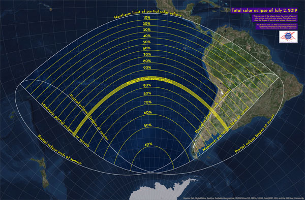 The path of totality on July 2, 2019
