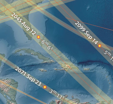 Close-up of eclipse globe paths and labels