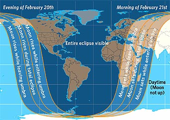 Map of Februrary 2007's lunar eclipse