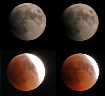 Images of the Moon taken during the June 15, 2011 total lunar eclipse