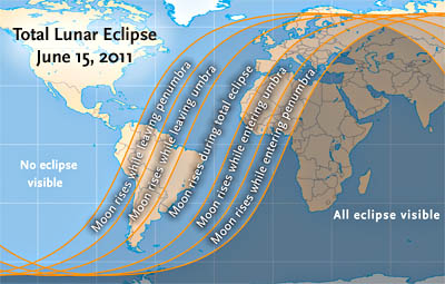 Visibility map for June 15's lunar eclipse