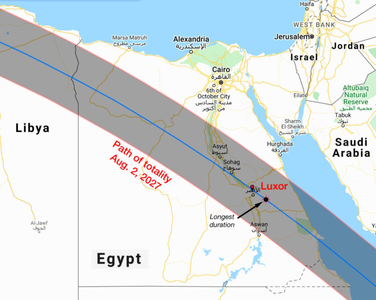Path of totality across Egypt  in 2027