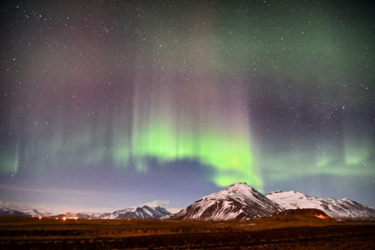Phot of aurora borealis in East Iceland.