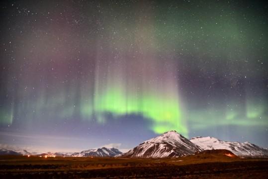 Phot of aurora borealis in East Iceland.