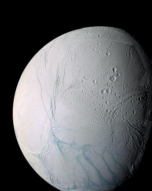 Tortured surface of Enceladus