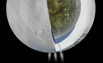 Cartoon illustrating the possible interior of Enceladus based on Cassini's most recent investigation of the moon's gravitational forces. A liquid ocean is sandwiched between the moon's rocky core and icy surface.  NASA / JPL-Caltech