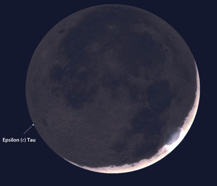 Lunar occultation, artist's view