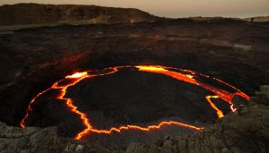 Lava lakes due to volcanoes are common in the solar system
