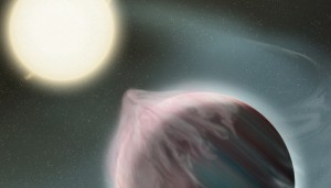 An artist's depiction of an early stage in the destruction of a hot Jupiter by its star.  NASA/GSFC/Frank Reddy