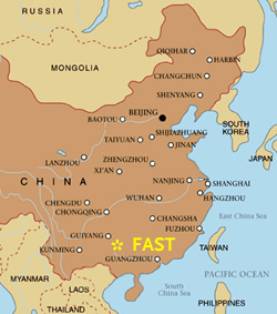 Location of FAST radio telescope is in a sparsely populated region of southern China.