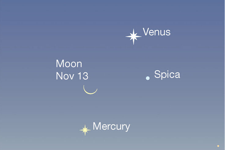 Venus, Moon and Mercury in the eastern dawn, Nov. 13, 2020