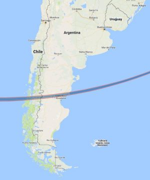 Track of February annular solar eclipse in 2017 across South America