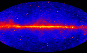 This view shows the entire sky at energies greater than 1 GeV based on five years of data from NASA's Fermi Gamma-ray Space Telescope. Brighter colors indicate brighter gamma-ray sources. NASA / DOE / Fermi LAT Collaboration