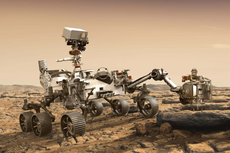 An artist's illustration of the Perseverance Mars Rover on Mars