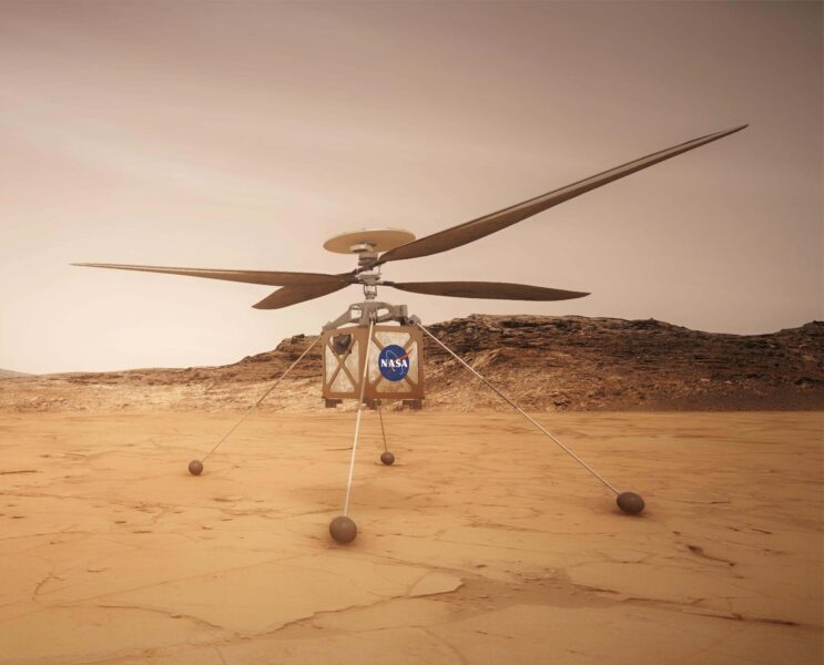 An artist's illustration of the Mars Helicopter