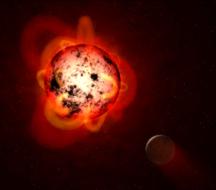 Red dwarf star with exoplanet