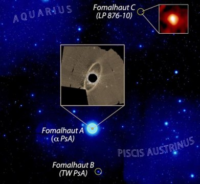 View of the Fomalhaut triple star system from Earth. The small inset shows a zoom of the newly discovered comet belt around Fomalhaut C as seen at infrared wavelengths by Herschel. The large inset shows a zoom of the much larger comet ring around Fomalhaut A as seen at optical wavelengths by Hubble. Grant Kennedy (Cambridge), Paul Kalas (UC Berkeley)